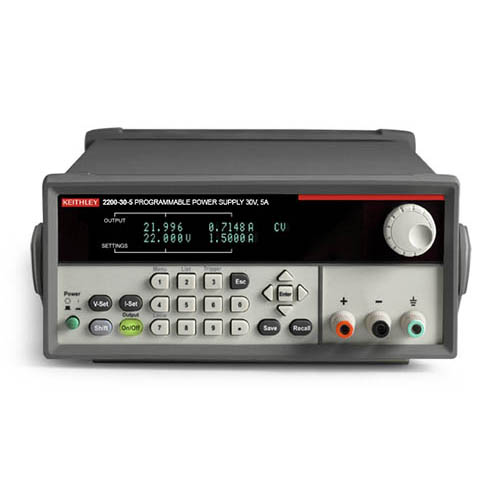 Keithley 2200-30-5 Single-Output Programmable DC Power Supply with USB & GPIB Interfaces, 30V/5A (Front/Top)