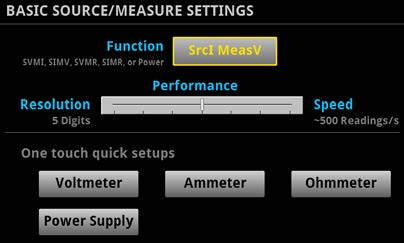 Quickset modes enable fast setup and time to measurements.