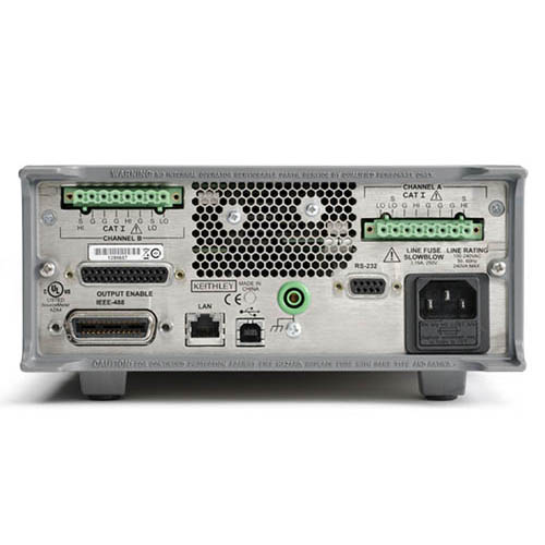 Keithley 2604B 2-Ch System SourceMeter (SMU) w/USB, LXI-C, GPIB, RS-232, I/O, 3A DC/10A (Benchtop) (Back)