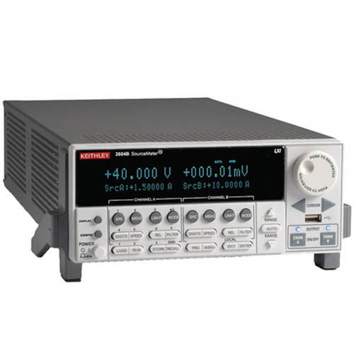 Keithley 2604B 2-Ch System SourceMeter (SMU) w/USB, LXI-C, GPIB, RS-232, I/O, 3A DC/10A (Benchtop) (Front/Top)