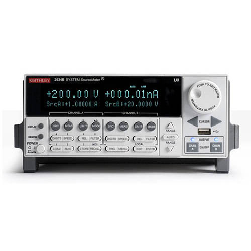 Keithley 2634B 2-Ch System SourceMeter (SMU) with USB, LXI-C, GPIB, RS-232, I/O, 1fA/10A (Benchtop)