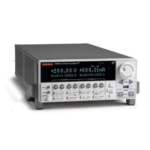 Keithley 2634B 2-Ch System SourceMeter (SMU) with USB, LXI-C, GPIB, RS-232, I/O, 1fA/10A (Benchtop) (Front/Top)