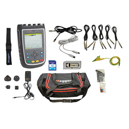 Megger MPQ1000-G-KIT 8 Channel 3-Phase Handheld Power Quality Analyzer, Gold Kit with 6000A Flexible Current Transformers (27 cm ID) (Detail View of MPQ1000)