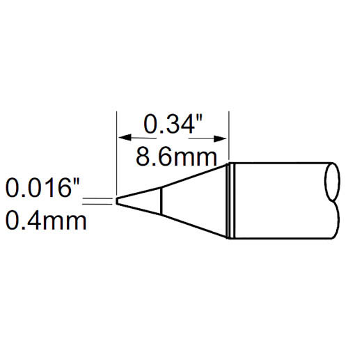 Metcal SCP-CN04 SCP Series .016in. x .34in. Ceramic Conical Cartridge/Thermally Demanding