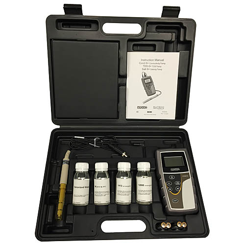 Oakton WD-35604-04 Eutech CON 6+ Conductivity Meter Kit with CON/TDS probe, Solutions, Bottles