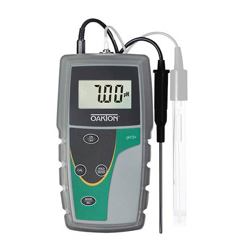 Oakton WD-35613-50 pH 5+ pH/Temperature Meter with ATC Probe, Rubber Boot, and Batteries