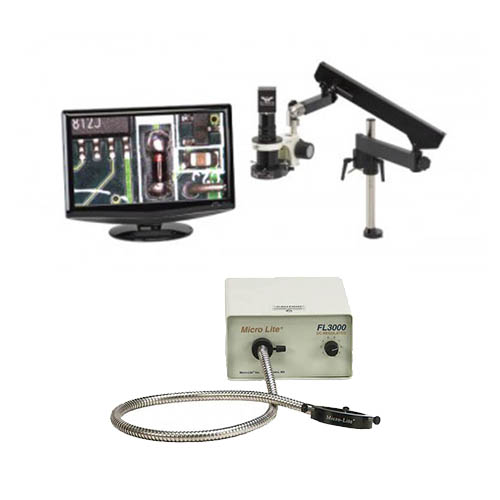 Click for larger image of the OC White TKDMACZ-FA-A MacroZoom 5MP Hybrid HDMI/USB3 Inspection Camera w/ LCD,  Arm Base & FL3000-A