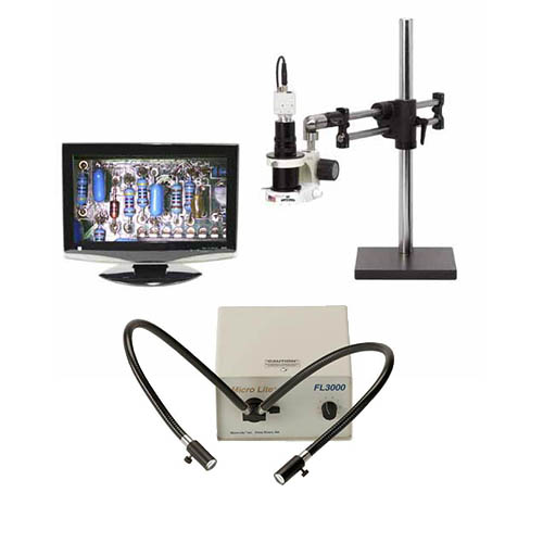 Click for larger image of the OC White TKMACZ-D MacroZoom HD1080p High Def. HDMI Inspection Camera w/ LED, Base & FL3000D