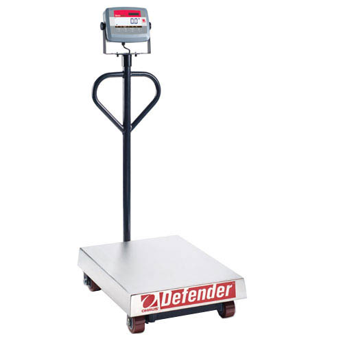 OHAUS D31P500TX Defender 3000 Wheeled Bench Scale, Capacity 500kg (1000lb), Res 0.1kg