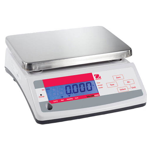 OHAUS V11P3T Valor 1000 Compact Food Scale, Cap. 3kg (6.6lb), Res. 0.5g (0.001lb), Dual Display