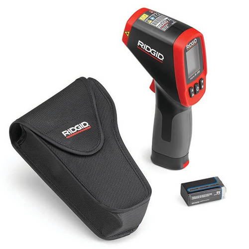 Ridgid Micro IR-200 (36798) Non-Contact Infrared Thermometer, 30:1 D/S, -58° to 2192°F (View with Included Accessories)
