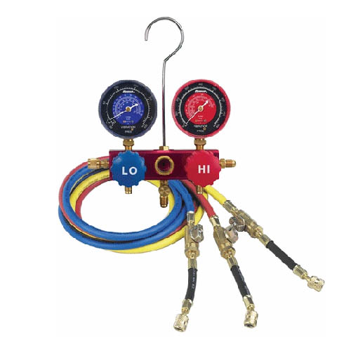 Robinair 41148 R410A Manifold Hose Set, 60 in Enviroguard Hoses, 45� in-line Compact Ball Valves