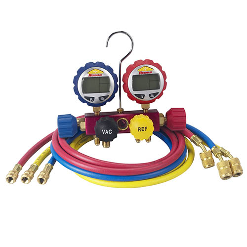 Robinair 43166 4-way Alum Manifold with Digital Gauge and 60 in Enviro-Guard Hose, Quickseal Fitting