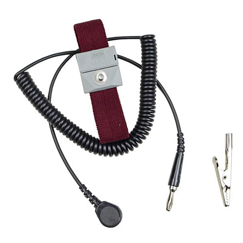 SCS 2224 Adjustable Burgundy Wrist Strap, with 10 ft. Coiled Cord