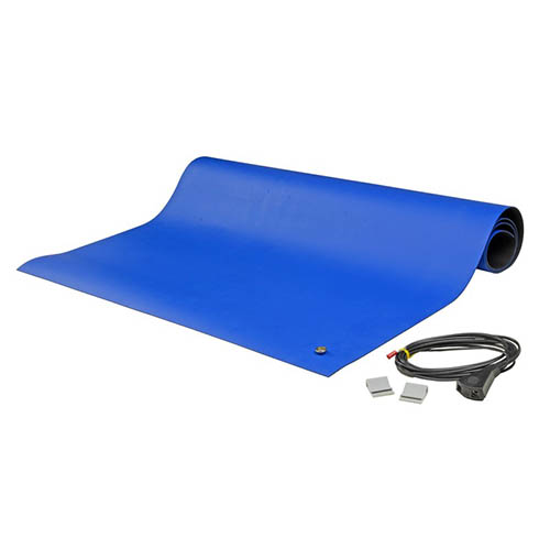 SCS 8831 Dissipative ESD 2-Layer Rubber Worksurface Mat Kit, Blue, 0.065 in. X 36 in. X 48 in.
