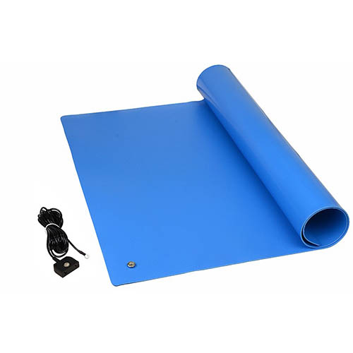 SCS TM2448L1BL-L Dissipative ESD 1-Layer Vinyl Worksurface Mat Kit, Blue, 0.096 in. X 24 in. X 48 in.