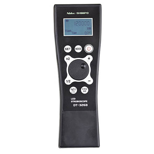 Click For Larger Image Shimpo DT 326B Handheld LED Stroboscope Rechargeable 60 To 120000 FPM