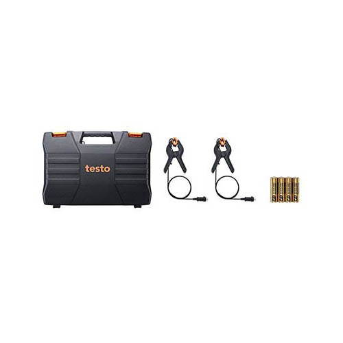 Testo 550 (0563 1550) Digital Manifold Kit with Bluetooth Support (View of Included Case, Probes, Batteries)
