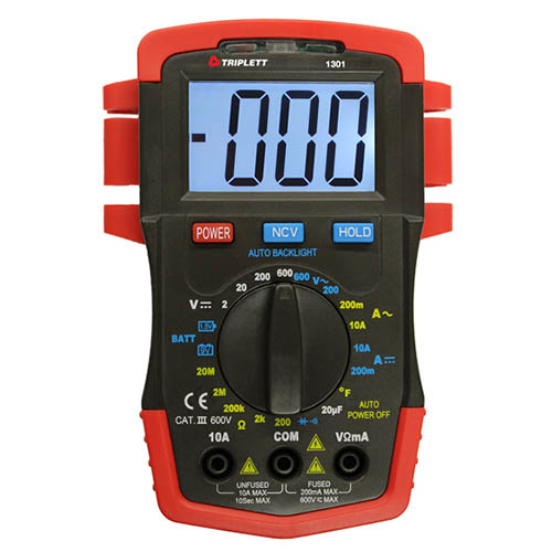 Triplett 1301 Compact AC/DC Digital Multimeter with 22 Ranges, CAT III 600V