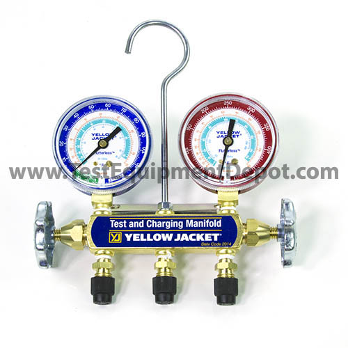 Yellow Jacket 41342 Series 41 Test and Charging Automotive Manifold, 2-Valve, R134a Gauges, No Hoses