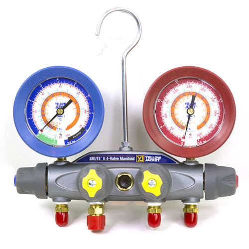 Yellow Jacket 46180 Brute II Test and Charging Manifold, 4-Valve, (bar/psi °C), R12/22/502, with Red/Blue Gauges, No Hoses