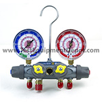 Click here for larger image of the Yellow Jacket 49962 Manifold only, R/B Gauges, Bar/Psi, R-410A - ?F