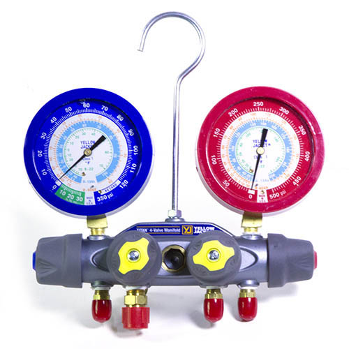 Yellow Jacket 49983 Titan Test and Charging Manifold, 4-Valve, °F, R22/134a/404A, with Liquid Gauges, No Hoses