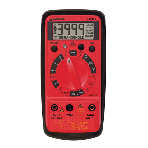 Amprobe 35XP-A Compact Digital Multimeter, 600VAC/600VDC with Temperature and Voltect NCV Detector