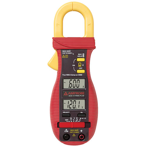 Amprobe ACD-14 TRMS-PLUS 600V/600A TRMS AC Autoranging Clamp Meter w/ Dual Display & Type-K Probe
