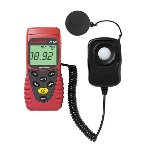 Amprobe LM120 Autoranging/Manual Digital Light Meter with Sensor Cap and Carry Case