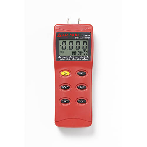 Amprobe MAN30 HVAC/R Differential Pressure Manometer up to 30 psi with USB Port and Connection Hoses