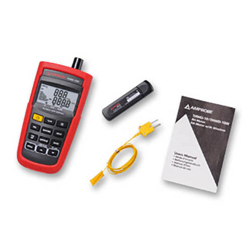 Amprobe THWD-10W Wireless Temperature and Relative Humidity Meter with Two Temperature Sensors (With Accessories)