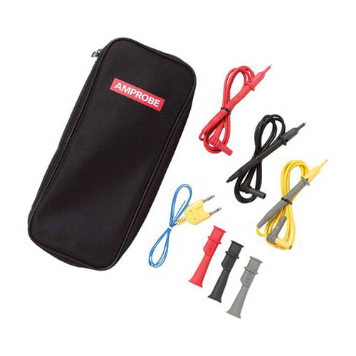 Amprobe TL-300 Fused Test Lead Set w/Alligator Clips (Red, Black, Yellow), Case and Thermocouple