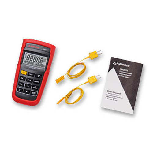 Amprobe TMD-52 K/J/T/E Type Dual Input Thermocouple Thermometer with Protective Holster (With Accessories)