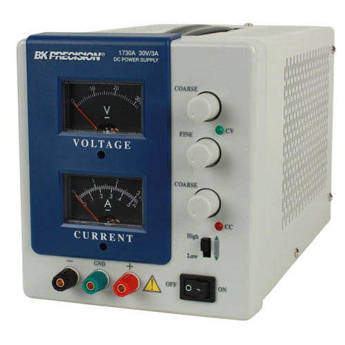 BK Precision 1730A-220V Single-Output Analog DC Power Supply, 30V/3A, 220VAC Line Input (Angle)