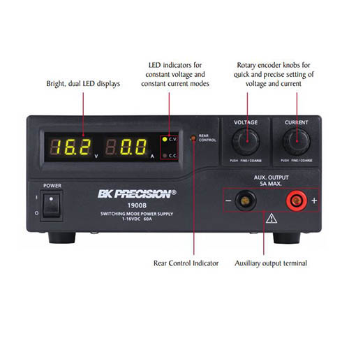 BK Precision 1901B Programmable DC Switching Power Supply 32V, 5A, 960W, and 30A Output (front)