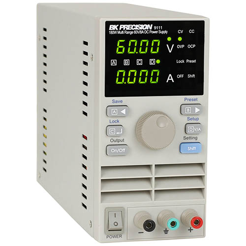 BK Precision 9111 Programmable Multi-Range Single-Output DC Power Supply, 60V/8A, 180W, 120VAC Line Input (Angle)