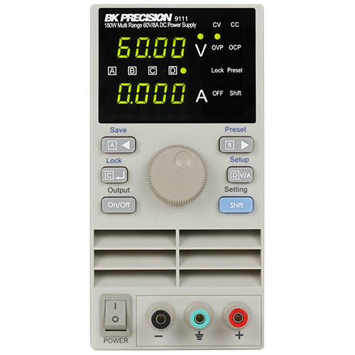 BK Precision 9111 Programmable Multi-Range Single-Output DC Power Supply, 60V/8A, 180W, 120VAC Line Input