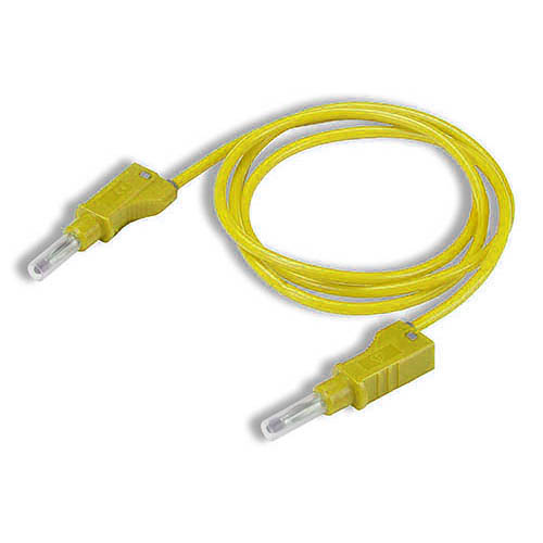 Cal Test CT2147-50-4 4mm Straight Stacking Retractable Banana Plug, Both Ends, 50 cm, Yellow, Qty 10