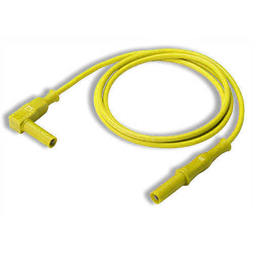 Cal Test CT2176-10-4 4mm Straight to Right-Angle Banana Plug Test Lead, 10 cm, Yellow, Qty 10