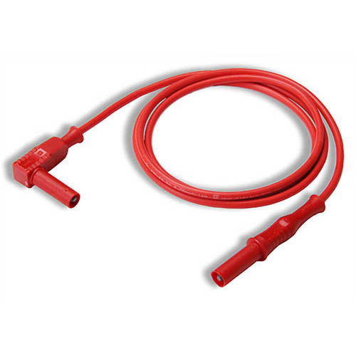 Cal Test CT2176-150-2 4mm Straight to Right-Angle Banana Plug Test Lead, 150 cm, Red, Qty 10