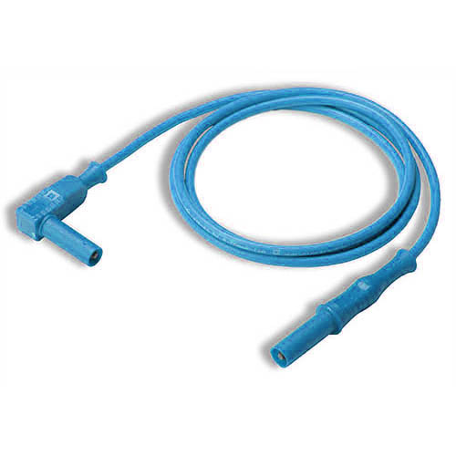 Cal Test CT2176-200-6 4mm Straight to Right-Angle Banana Plug Test Lead, 200 cm, Blue, Qty 10