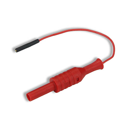Cal Test CT2887-10-2 Individual lead 0.8mm female jack to 4mm banana jack, 10 cm, Red, Qty 10