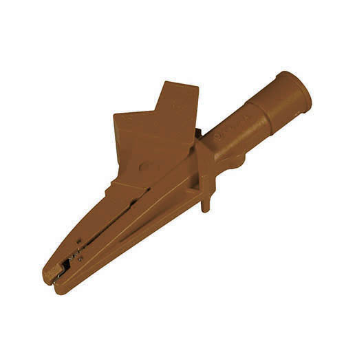 Cal Test CT3147-1 Insulated large alligator clip, 4mm banana jack, IP2X interconnect, Brown, Qty 10