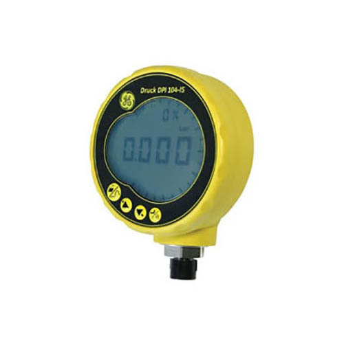 GE Druck PV411A-104S-HP-2-100PSI-G Pneumatic & Hydraulic Test Kit w/PV411A Pump, DPI 104-IS Intrinsically Safe Gauge 100psi gauge, Hydraulic Reservoir (View of DPI 104-IS Digital Pressure Gauge)