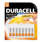 Duracell DA13B8 Zinc Air Hearing Aid Battery Size 13 1.4V 8 Pack - Click here for product information page