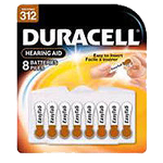 Duracell DA312B8 Zinc Air Hearing Aid Battery Size 312 1.4V 8 Pack - Click here for product information page