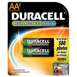 Duracell DC1500B2 AA NiMH Round Cell Rechargable Battery 2 Pack - Click here for product information page