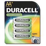 Duracell DC1500B4 AA NiMH Round Cell Rechargable Battery 4 Pack - Click here for product information page