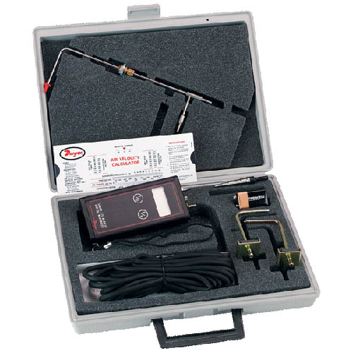 "Dwyer 475-1T-FM-AV Handheld Digital Manometer w/ Air Velocity Kit, 0-20.00"" w.c., Pitot Tube"